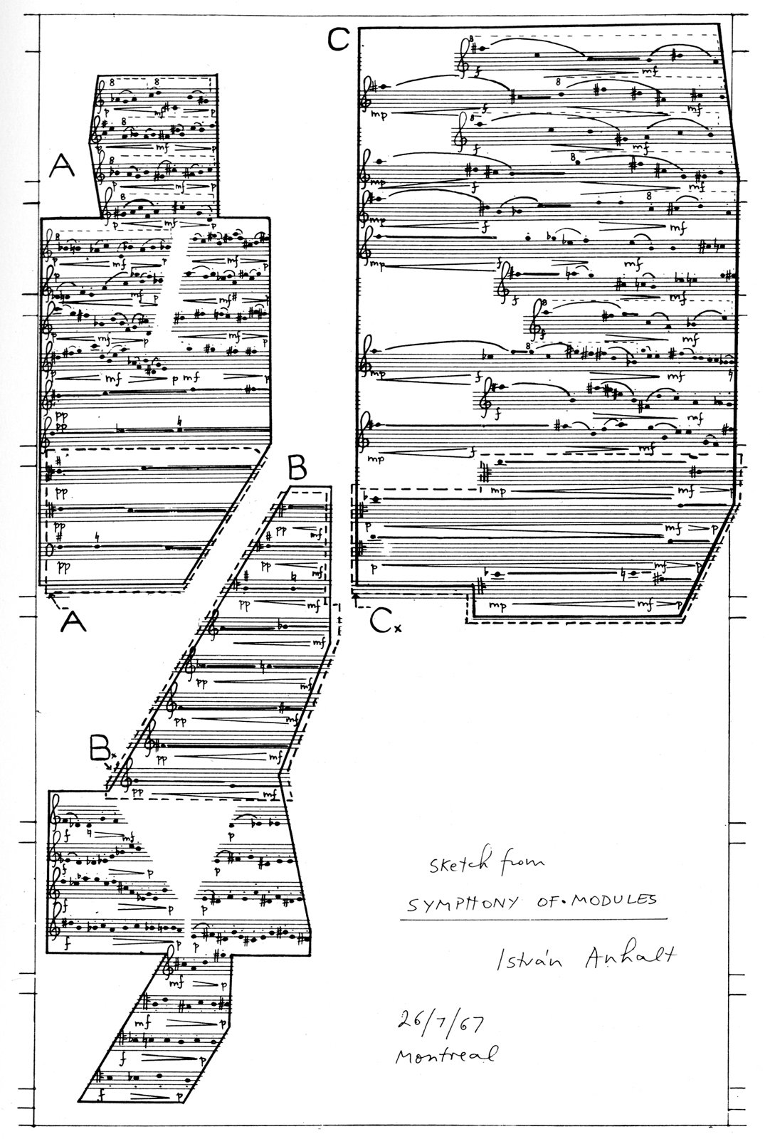 István Anhalt's sketch of the Symphony of Modules, which took him five years to compose.  Photo 1 of 7 in Music Holl: A Copper Clad Pavilion in Seoul