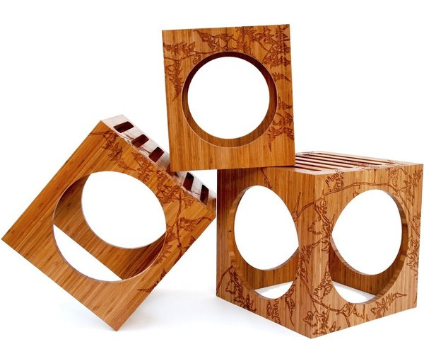3 Blocks is a group of nesting tables that can also work as stools.