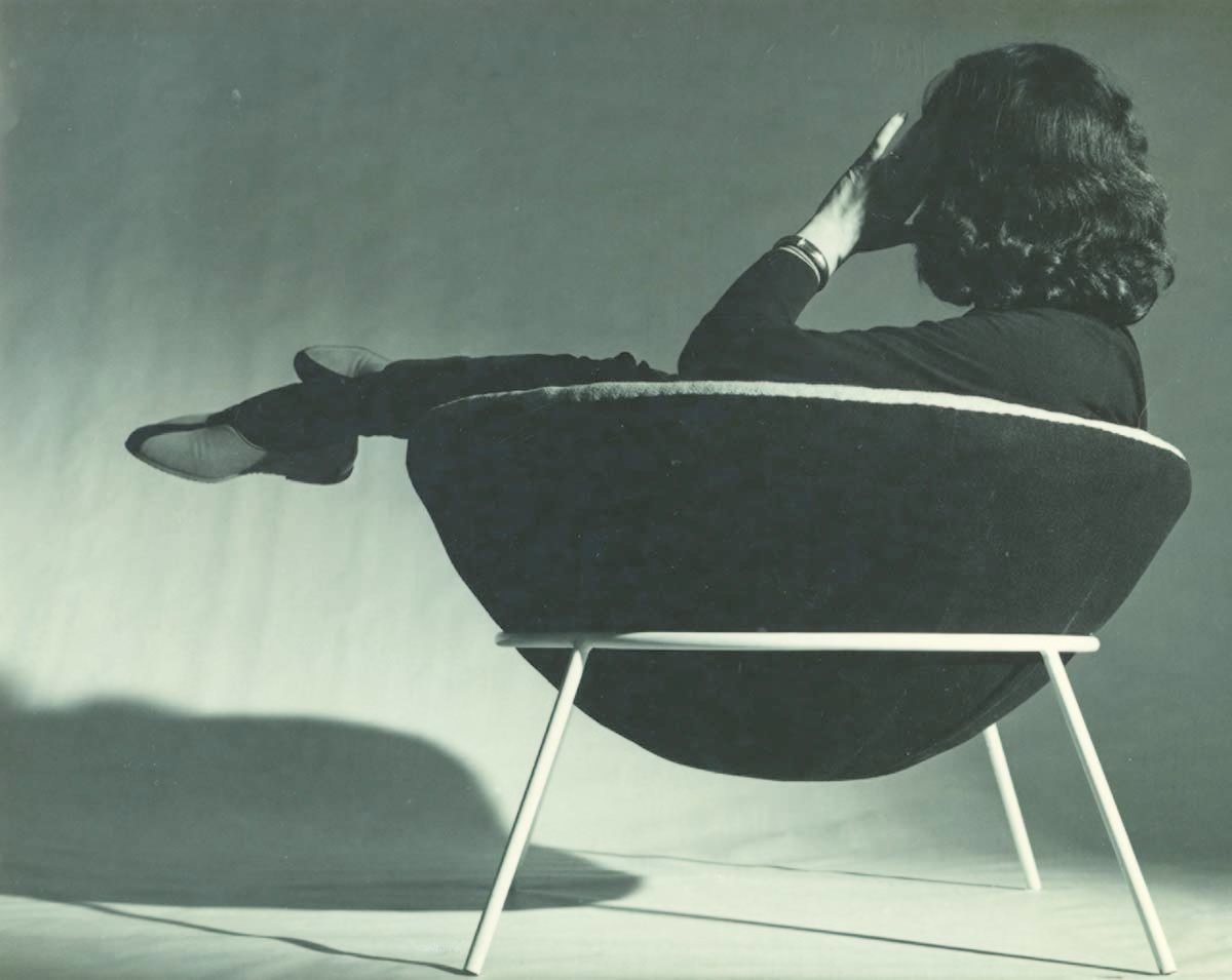 Bo Bardi reclines in her world famous Bowl chair.  Photo 7 of 7 in Brazilian Modernist Lina Bo Bardi Gets Her Due in a New Exhibition