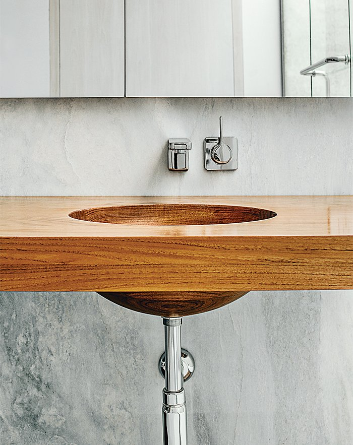 Inspired Indoor Teak Looks Dwell - Teak bathroom countertop