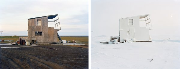 In the summer of 2010, photographer Eirik Johnson adventured to the most northern stretch of the United States to capture several hunting cabins in Barrow, Alaska. He returned in winter 2012 during the frigid Arctic Winter Solstice to photograph the same cabins at the precise angle and position, as he did that one summer. With only a brief four hour window of dusk-like light during this recent winter trip, he still managed to succeed in a complete visual contrast, especially when the images are viewed side by side.