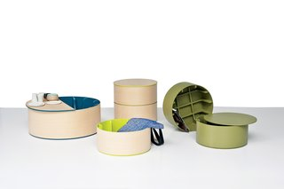 "Studio Juju's Drum Series is a set of storage options with intersecting ""ribs"" that, upon further investigation, can organize smaller items."
