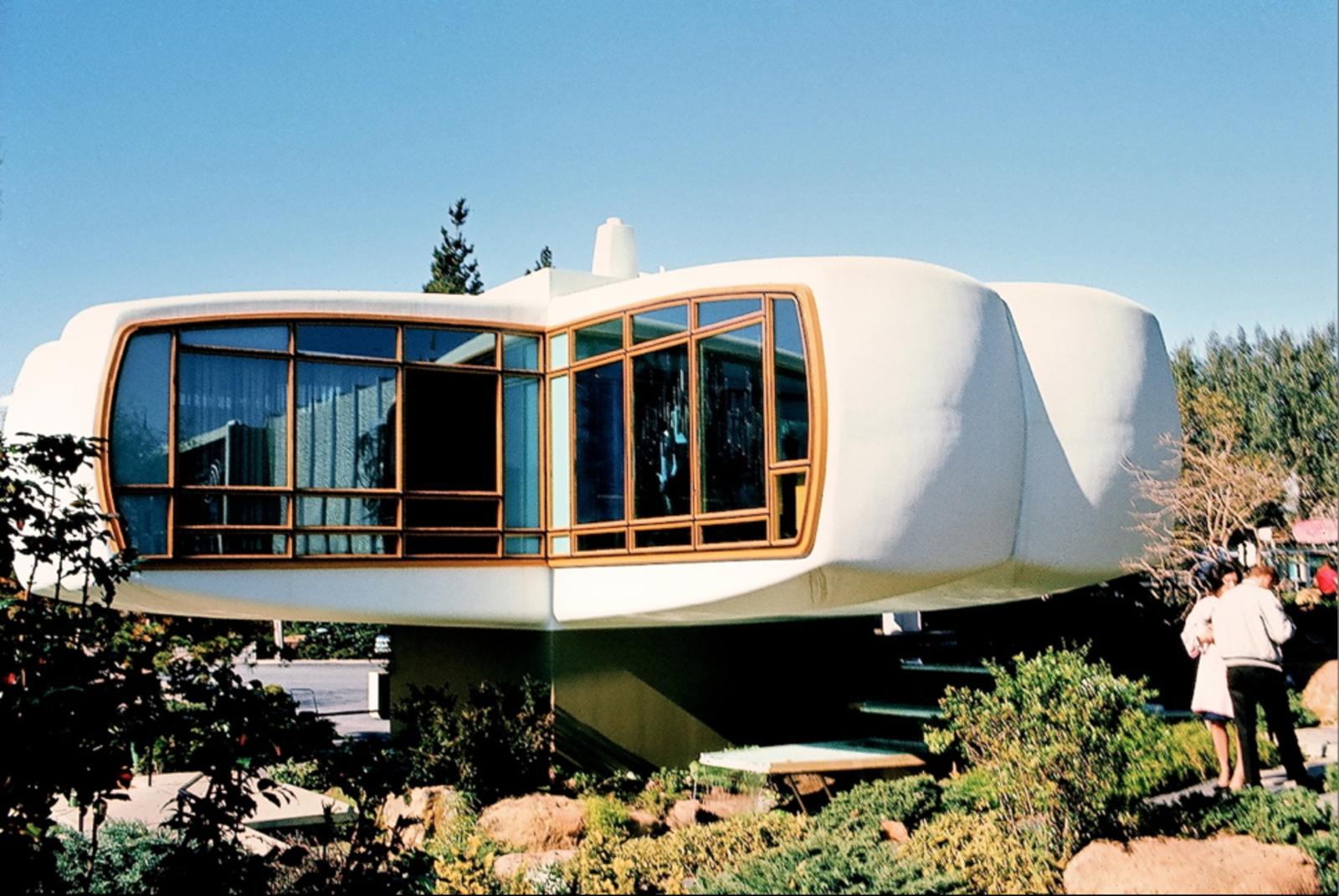 """House of the Future, Disneyland, 1957–1967, Kodachrome image from the Charles Phoenix """"Slibrary"""" Collection.  Search """"charles birnbaum future landscape architecture"""" from Tour California's Quirky, Midcentury Modern Icons with an Americana Expert"""