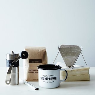 We'd come prepared with this travel coffee set from Stumptown, which includes a coffee drip, manual grinder, mug, and everything else you might need to make that perfect off-the-grid cup. $125. Photo by James Ransom.