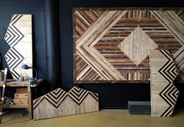 A medley of Ariele Alasko's headboard and wall panel designs displayed in her Bedstuy studio. Photo credit: Ariele Aslasko  Photo 3 of 3 in Building in Brooklyn