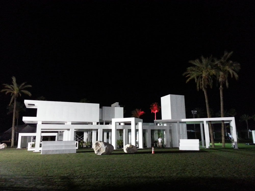 "A series of open white planes, the ""house"" is an abstraction of an abstraction, a contemporary take on mid-century desert modernism.  Photo 2 of 3 in Modern Design at Coachella"