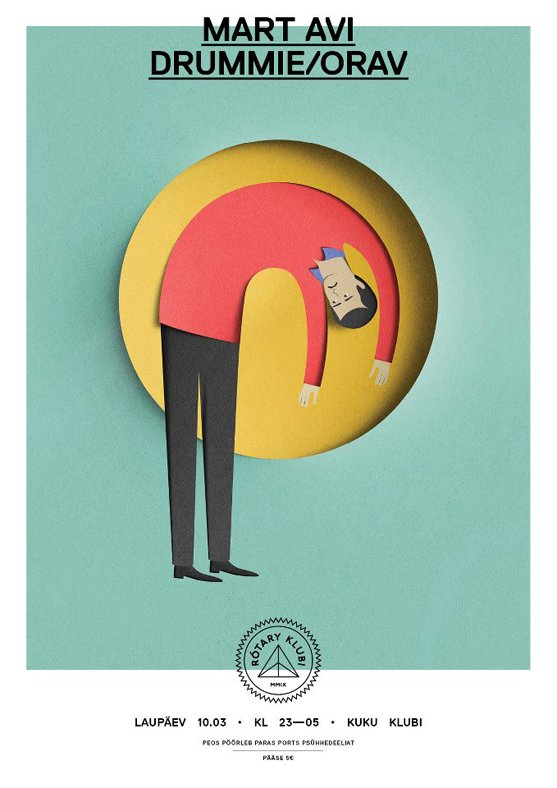 Illustration for the event 'Rotary Klubi,'  with design by Alari Orav.  Graphic Designer We Love: Eiko Ojala by Eujin Rhee