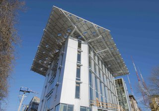 The Bullitt Center, a self-sustaining building collects rainwater and relies on renewable energy and solar power to generate it's electricity opened in Seattle, Washington on Earth Day, April 22, 2013. Photo credit: Brad Kahn