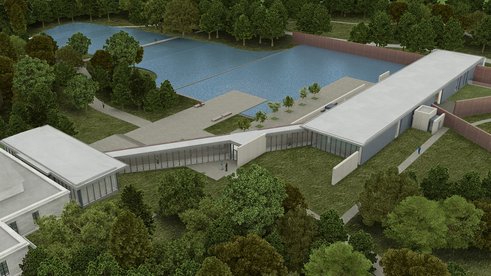 Water cascades from one pool to the next and is then recycled and reused for landscape irrigation and building systems. Image courtesy of the Clark Art Institute.  Photo 2 of 7 in Tadao Ando's Reimagined Clark Art Institute