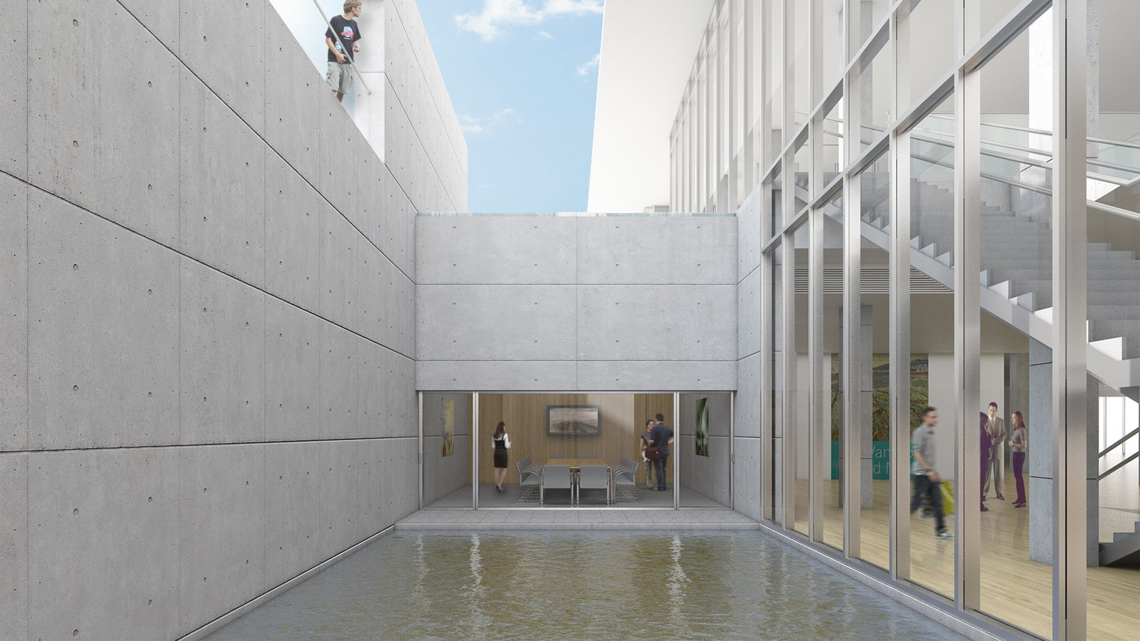 More than 65 percent of Ando's visitor center space is below ground, in order to maximize space without interfering with the surrounding landscape. Image courtesy of the Clark Art Institute.  Photo 3 of 7 in Tadao Ando's Reimagined Clark Art Institute