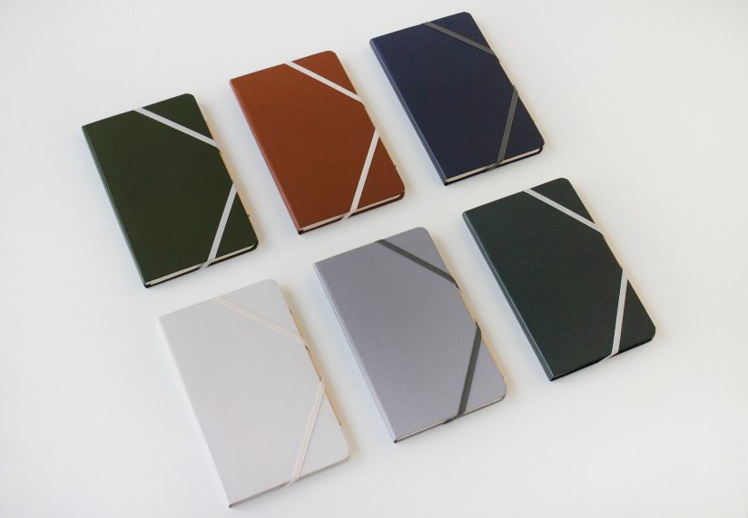 The durable, water-resistant covered book with an elastic closure comes in six colors: pale gray, clay, slate, terra cotta, hunter, and oxford.  Photo 4 of 4 in Product Spotlight: Sketchbooks by Makr