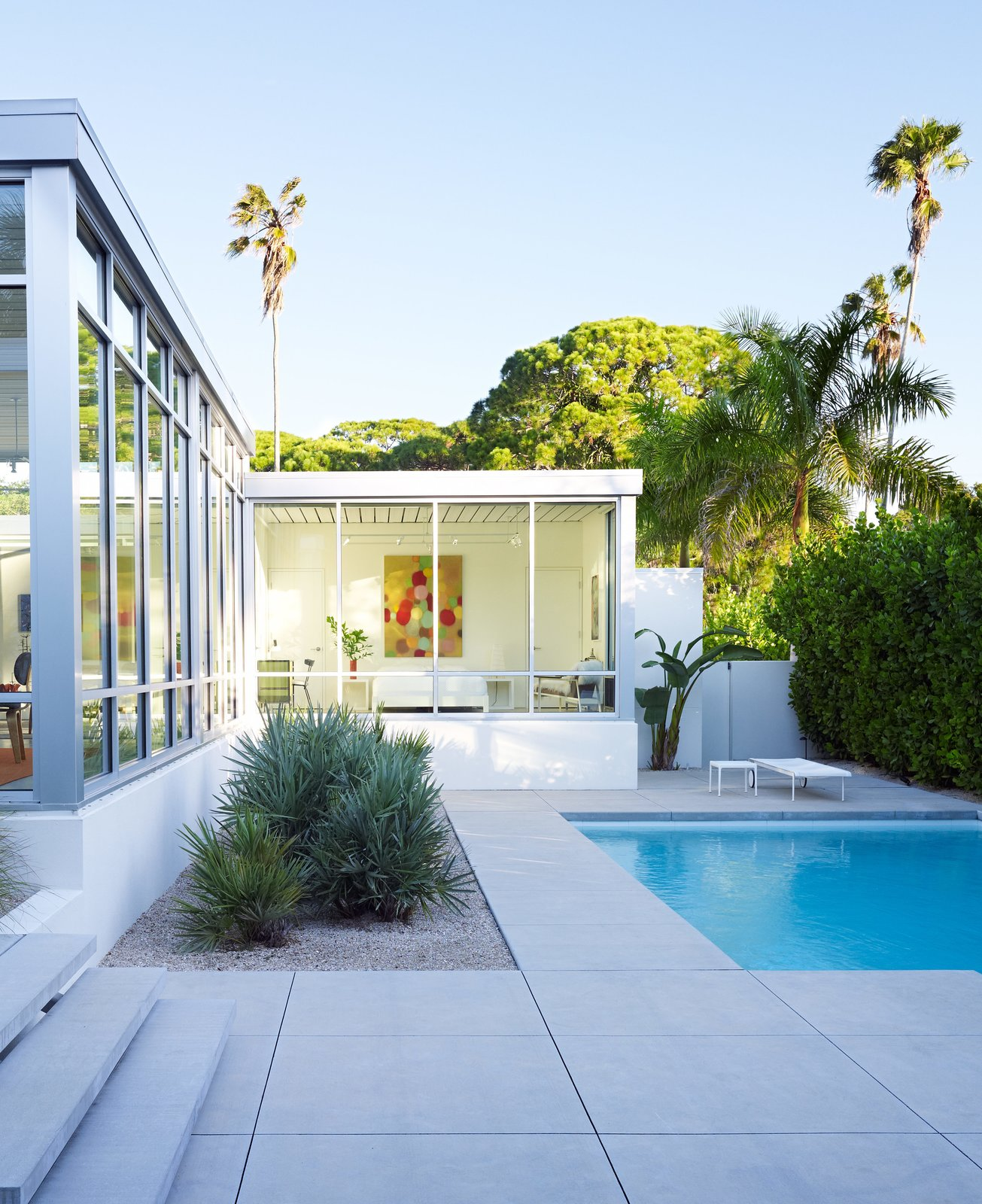 Outdoor, Small, Swimming, and Concrete Florida couple John Pirman and Steve Tetreault built a new house inspired by the Sarasota School. Today's FEMA codes required a plinth to lift the house five-and-a-half feet above grade and a roof that can withstand hurricane wind loads, making it a challenge to re-create the lightness of midcentury design, Pirman says.  Best Outdoor Swimming Small Photos from This Sparkling New Home Is a Perfect Remake of Classic Sarasota School Modernism