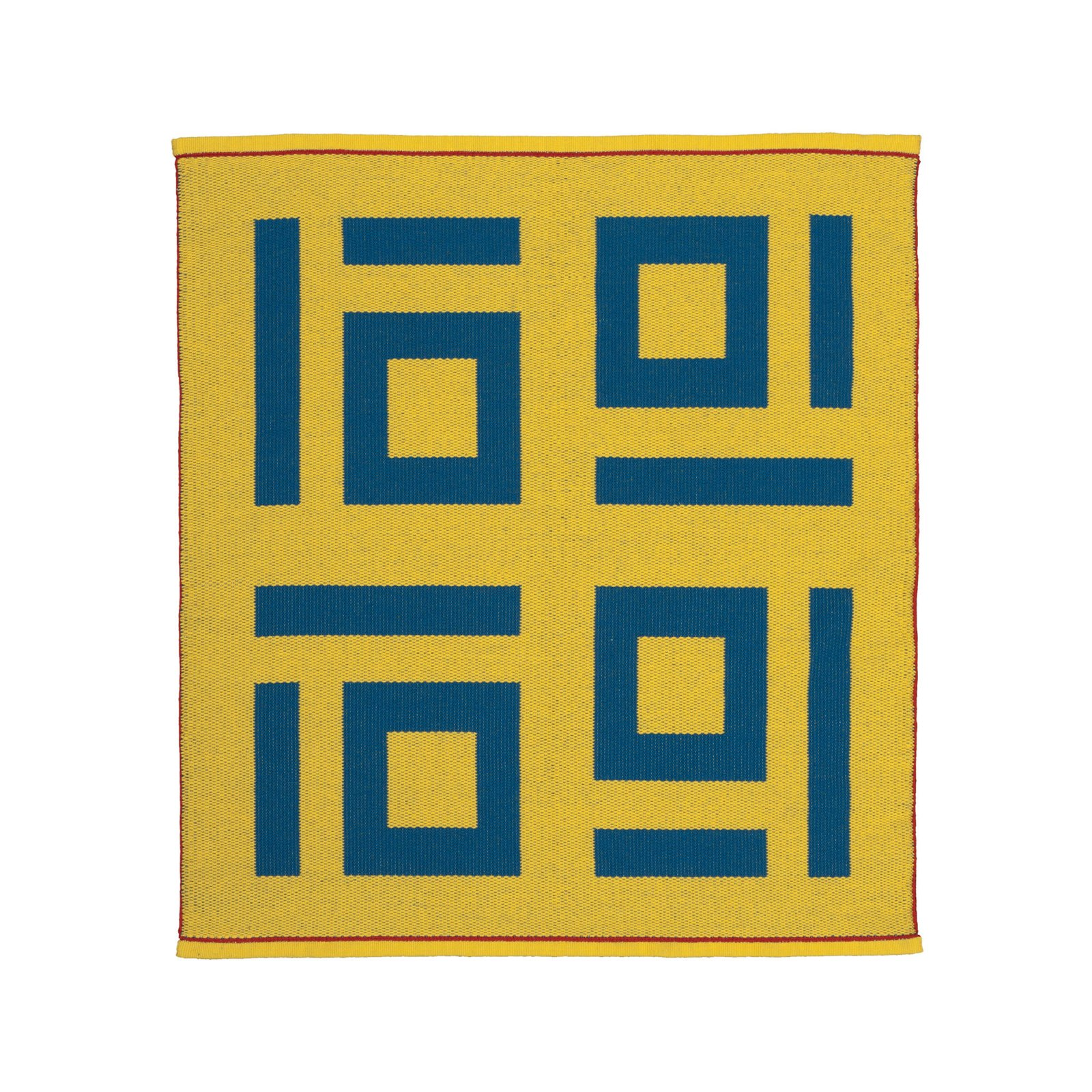 "Eureka, California  Four Tens Rug by Nancy Kennedy Designs, $2,000. Nancy Kennedy uses a custom stand-up loom to weave what she calls ""art underfoot""—geometric rugs like this reversible wool-and-linen design.  Photo 5 of 9 in 9 Modern Designs That Were Born in the USA"