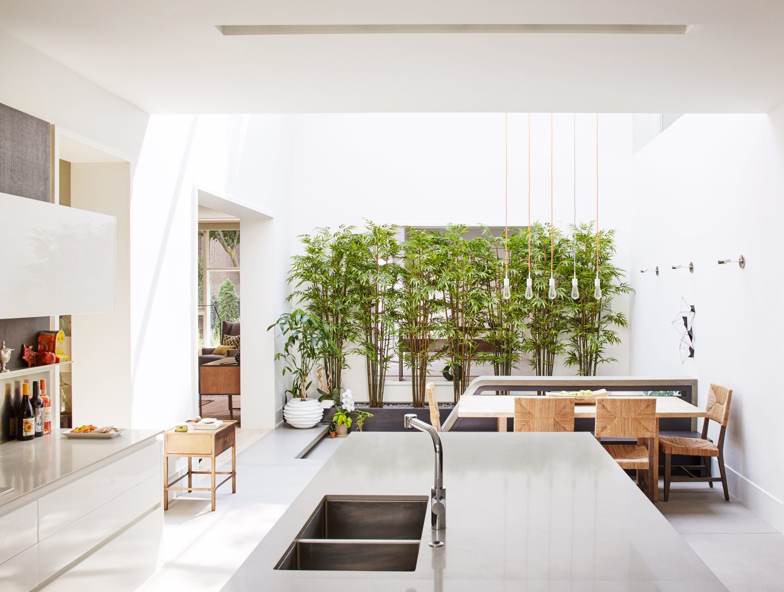 "Kitchen, Metal Counter, White Cabinet, and Undermount Sink A wall of bamboo adjacent to the atrium floor provides a dramatic and seductive green entrance—""natural art,"" Eric calls it.  Best Photos from An Impressive 20-Foot Skylight Transforms a Jumbled Chicago Home"
