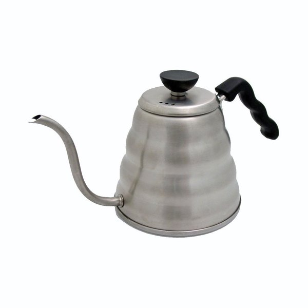 With the Hario Drip Kettle, it's easy to take the simple task of brewing morning coffee from stale to sophisticated. Used as a pour over brewer, the stainless steel kettle has an ergonomic design and features a long, slender spout that's ideal for steady, continued pouring over coffee grounds. Pouring in this way ensures an even saturation of grounds, as well as sustained extraction. Aside from the flavorful cups of coffee the kettle yields, it's also stunning to look at with its subtle, undulating curves and delicate spout. It's a kettle that deserves to be displayed after use. The Hario Drip Kettle works excellently when paired with a manual coffee maker, like the Hario Drip Pot.