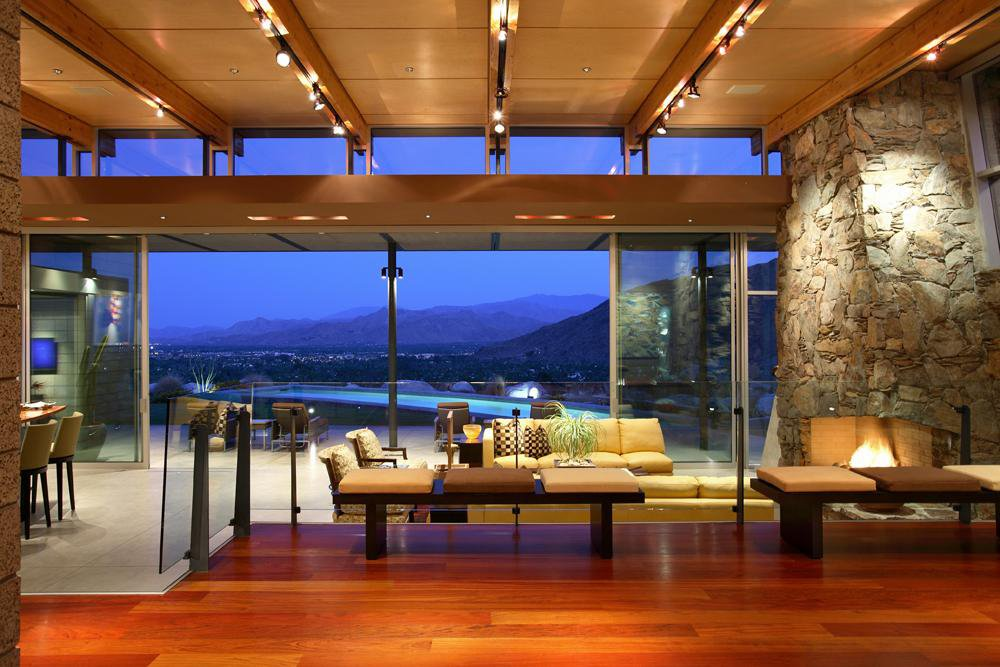 The views take center stage and are seen immediately upon entering the home. Photo by: NuVue Interactive/Lance Gerber.  Photo 7 of 9 in Contemporary Modern in a Mid-Century Mecca