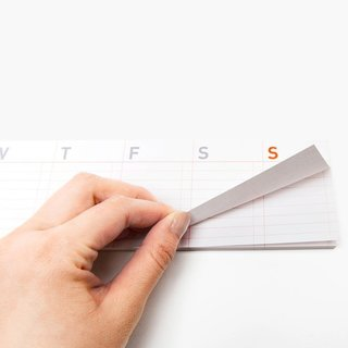 Poketo's Stick-Up Weekly Calendar is both a sticky pad and calendar, in one slim pad. The pad includes seven sections, each for a day of the week and each section includes lines for writing as well as small boxes for checking off completed tasks.