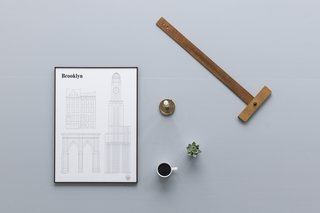 From Sweden's studio esinam, the Landmarks Architectural Print Series is a thoughtful collection of portraits of famous international cities. The Brooklyn Landmarks Architectural Print includes architectural drawings of three iconic places in the city including buttresses from the Brooklyn Bridge, the tower of the Williamsburg Savings Bank Tower, alongside examples of classic brownstone townhomes. This print is a limited edition of 1,000 prints.