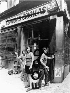 Tina Girouard, Carol Goodden, and Gordon Matta-Clark outside the restaurant FOOD prior to its opening in 1971. Goodden will be one of the artists participating as a chef in the 2013 homage to the original. Photograph by Richard Landry. Courtesy Richard Landry, the Estate of Gordon Matta-Clark and David Zwirner, New York/London.