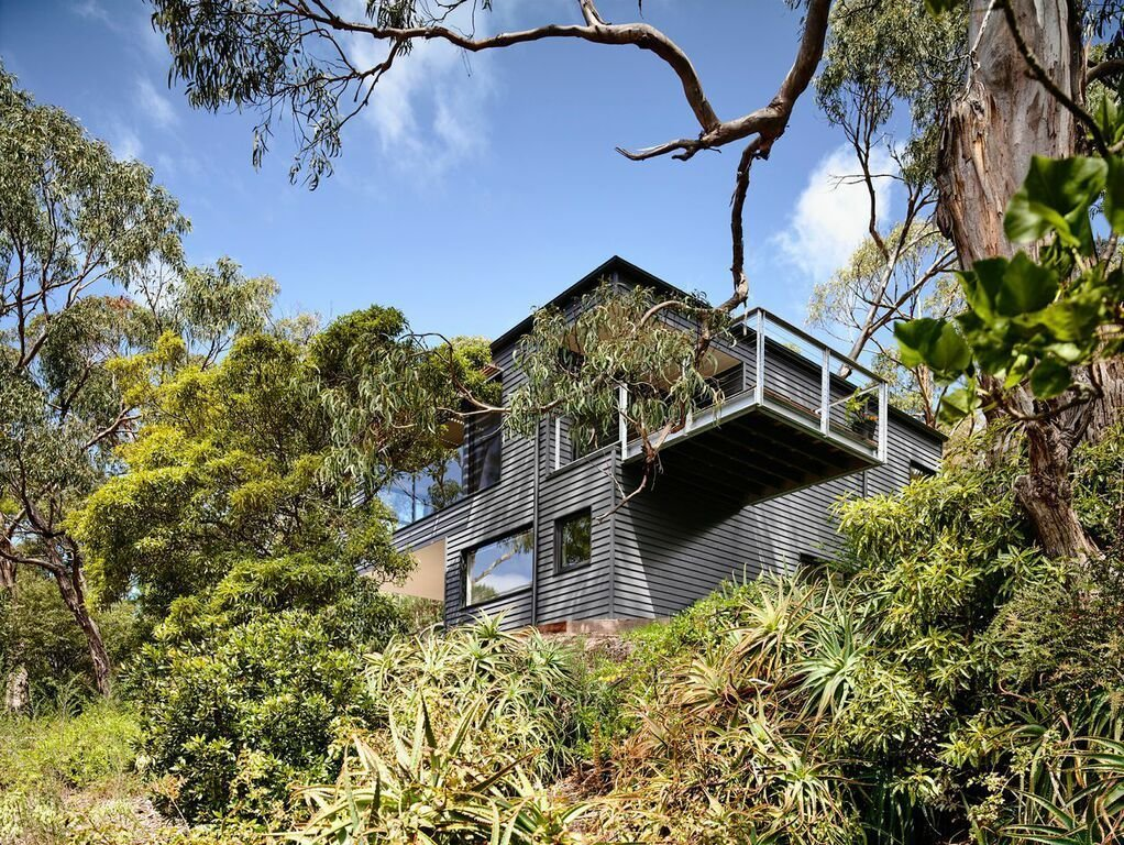 """Exterior, House Building Type, and Metal Roof Material Large gum trees offer a natural barrier for the house. Harkness designed the house's footprint in order to minimize the effect on tree roots. """"The retained trees offer a sense of layering and age that new vegetation won't be able to for a long time,"""" Harkness says.  Search """"glass house australia's sunshine coast"""" from A Breezy Modern Beach House Sits Among the Trees in Australia"""