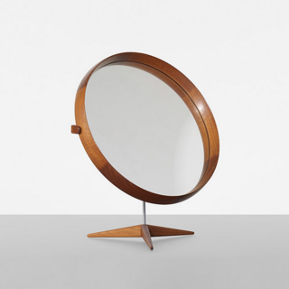 Mirror designed by Uno and Östen Kristiansson in 1960 for Luxus Vittsjö Sweden (1960). Teak, mirror, steel, oak; estimate $2,000–$3,000.
