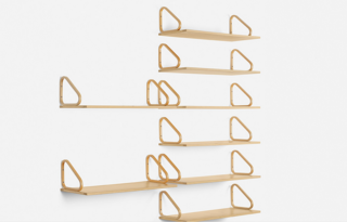 Wall shelves, eight in total, by Aalvar Aalto for Artek in Finland (1933). Laminated birch; estimate $3,000–$5,000.