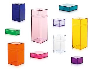 Momaboxes are jeweltone plastic boxes in a variety of shapes and sizes. (For a quicker fix, the Container Store sells similar compartments fromAmac.)