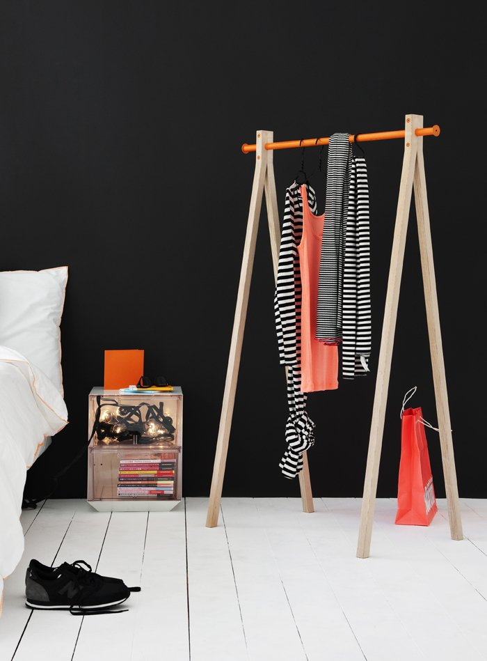 Sturdy but unobtrusive garment racks are a clever option for apartments with little closet space. Nomess Copenhagen's Dress-Up comes in white or black legs with the option of a black, white, or orange hanging bar at top. (Buy it for €229 here.)  Design Destination: Scandinavia by Diana Budds from Mod Storage Accessories from Nomess Copenhagen