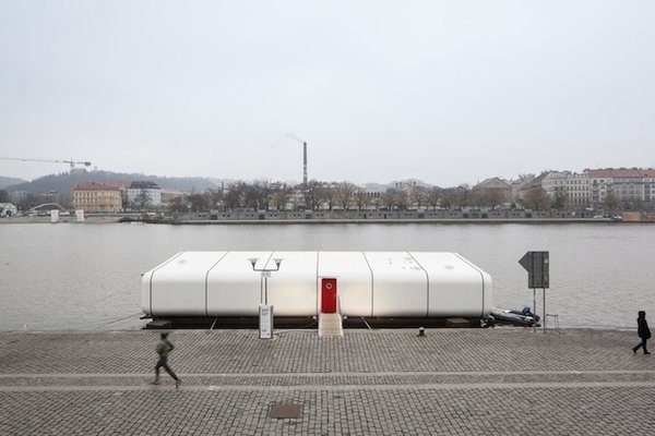 A C-Frame catamaran currently docked in Prague's Holesovice neighborhood, Port X is a buoyant dwelling for modular, modern living. Prague's Atelier SAD finished the concept last fall, collaborating with a company that develops sailing boats to fabricate its curved exterior.