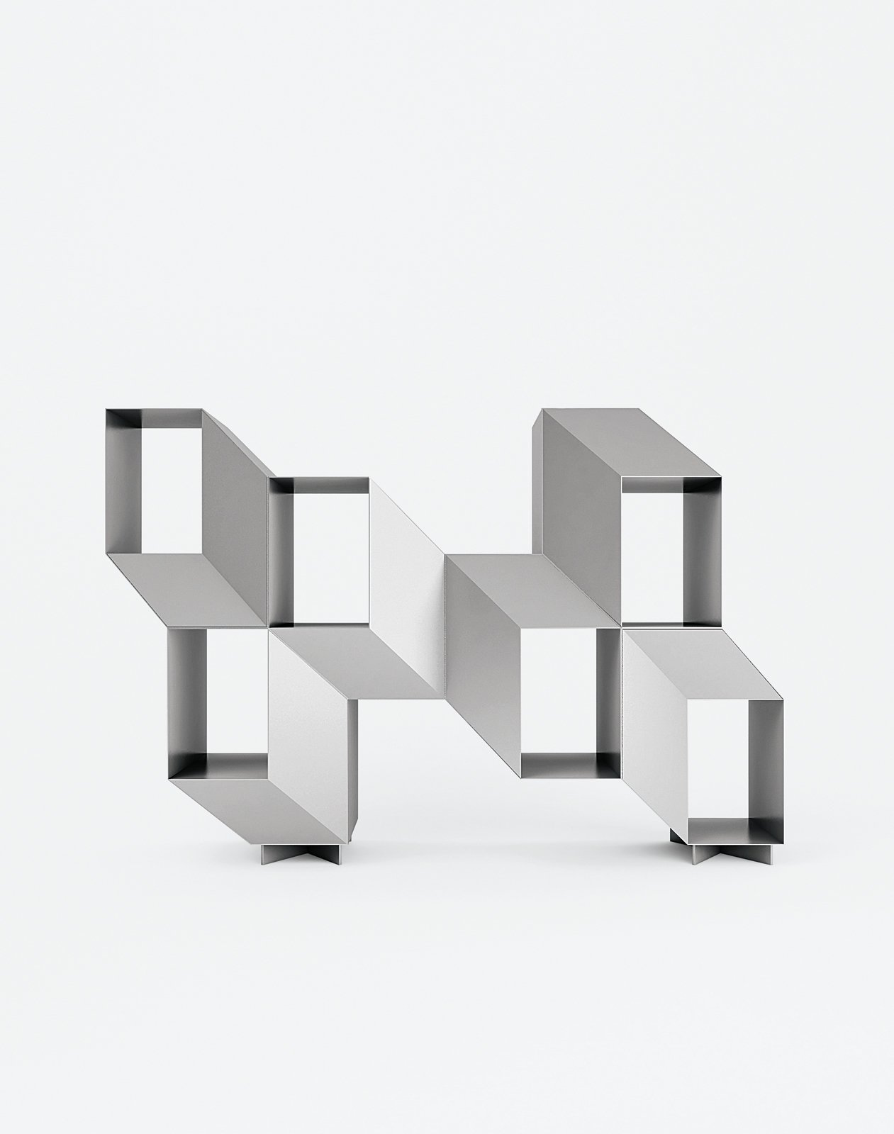 Charles Kalpakian's Escheresque Rocky shelving lacquered in matte aluminum gray (Jekyll).  Photo 5 of 10 in Furniture Designer Spotlight: La Chance