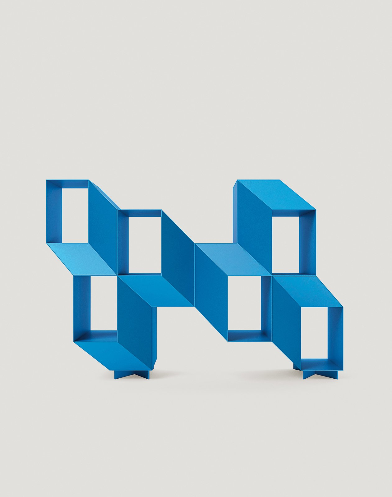 Charles Kalpakian's Escheresque Rocky shelving lacquered in bright blue (Hyde).  Photo 6 of 10 in Furniture Designer Spotlight: La Chance
