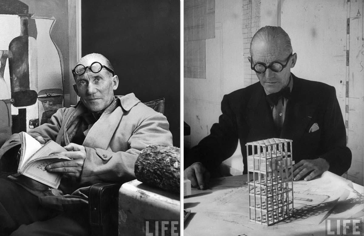 It all starts with the specs. Thick, round, black, and as demonstrated here, equally dapper whether worn on the face or forehead.  Photo 1 of 7 in Le Corbusier: The Most Stylish Architect in History from Most Stylish Architect in History: Le Corbusier