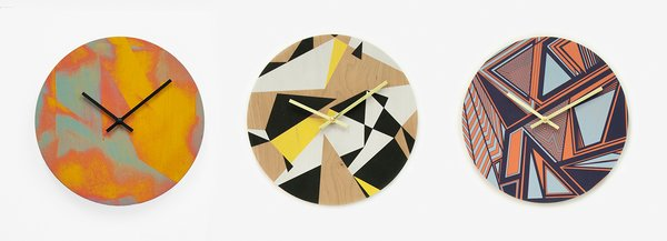 Westkill's cheerful clocks, coasters, and platters start with raw Northeastern wood and are hand-printed and gilded.
