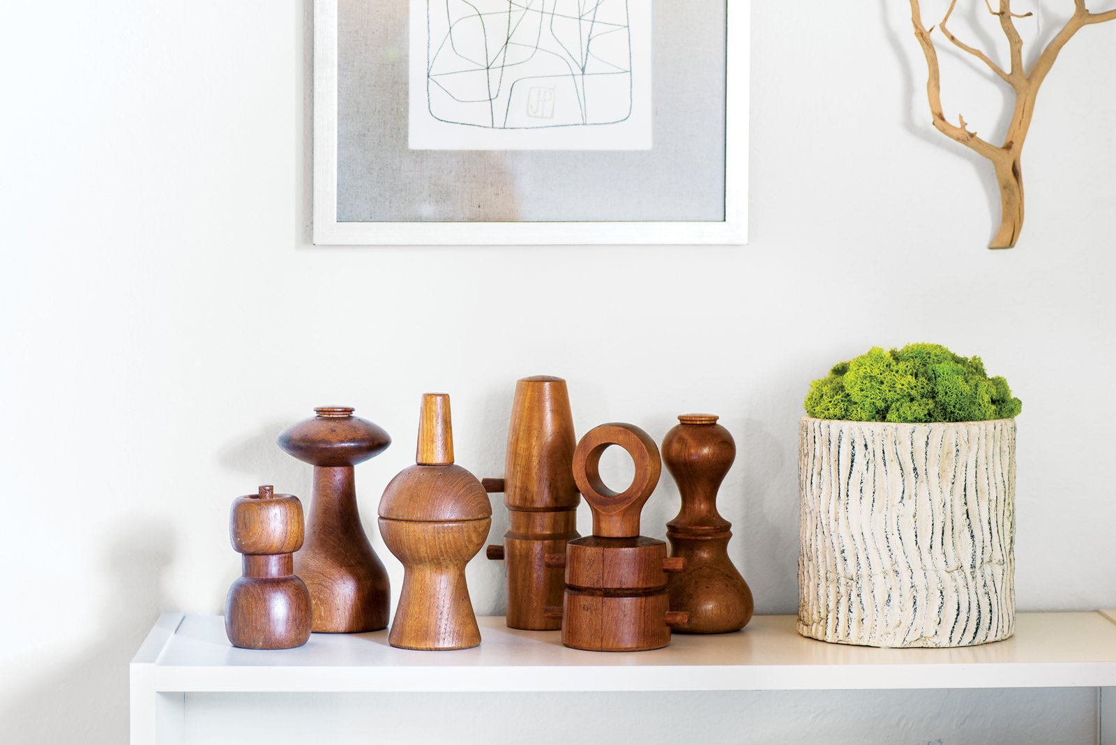 Living Room and Console Tables Neely has been buying Dansk pepper grinders at antique shops for the past ten years.  Photo 5 of 15 in Modern Furniture Fit for a Classic Eichler