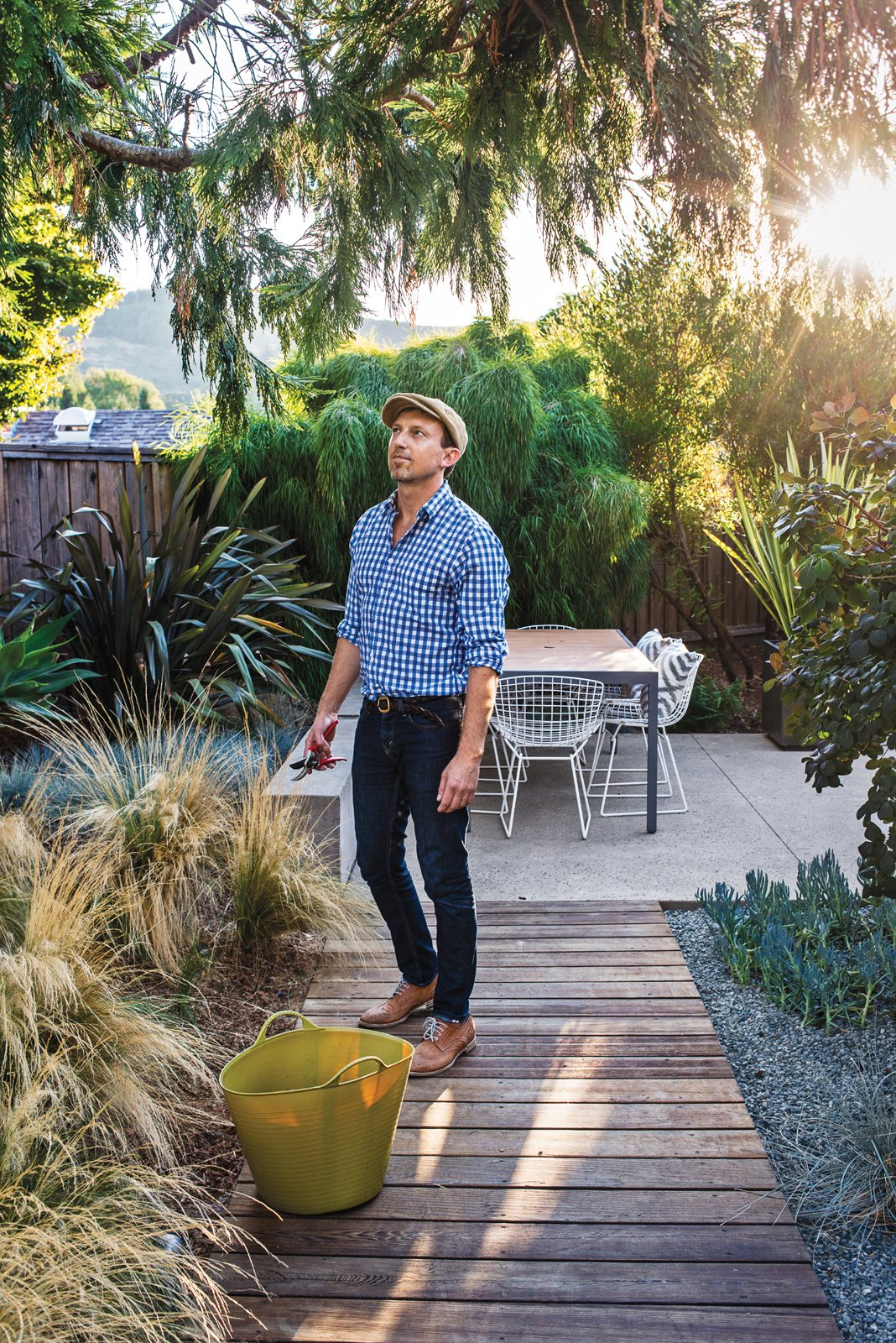 "Outdoor, Garden, Walkways, Shrubs, Hardscapes, Gardens, Trees, Back Yard, Vertical Fences, Wall, and Wood Fences, Wall ""I love the look of mass plantings,"" notes Neely, near Mexican feather grasses--which thrive on the sunny lot.  Best Photos from Modern Furniture Fit for a Classic Eichler"