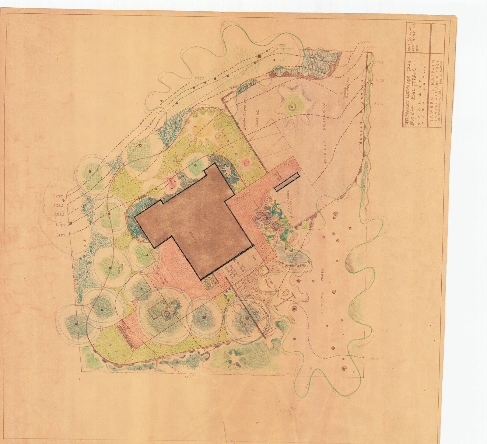 A drawing by Lawrence Halprin details the landscape plan.  Photo 4 of 4 in A 1950s Mid-Century Home Joins the Spokane Register of Historic Places