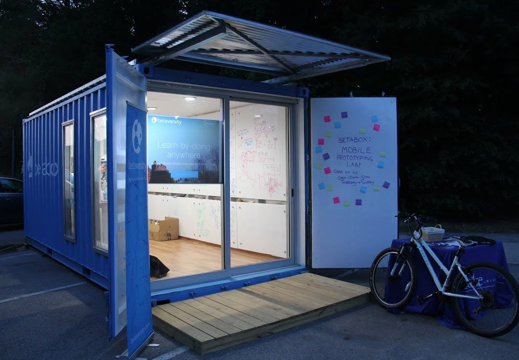 The BetaBox mobile prototyping lab is outfitted with a 3D printer, a CNC mill, a laser cutter, and other tools for innovating.  Businesses Run From Shipping Containers by William Harrison from BetaBox: A Mobile Prototyping Lab in a Shipping Container