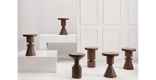 The whimisical and sturdy Walnut Chess Piece stools by Anna Karlin.