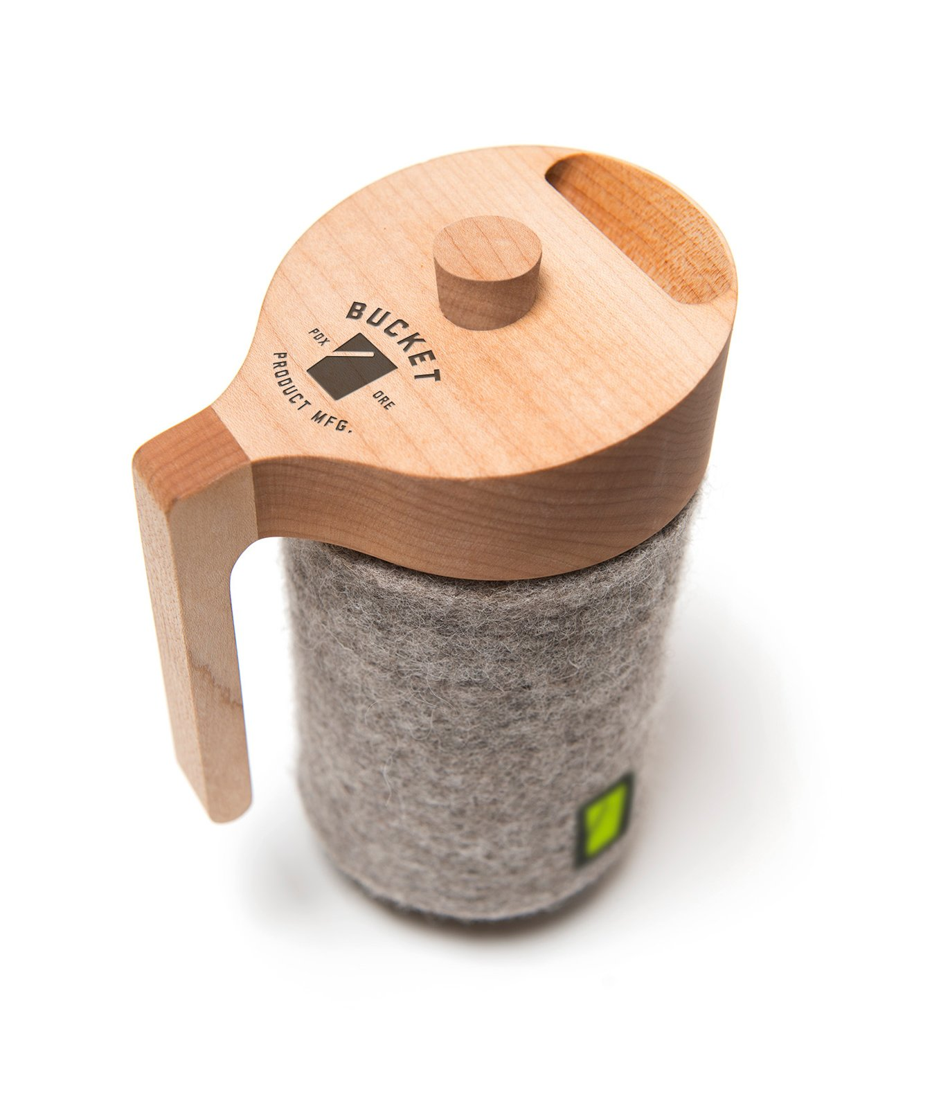 Unlike other French presses, whose coffee cools quickly, the wool cozie on the Portland Press ensures another layer of insulation, and a better chance that cup number two from your pot won't be lukewarm.  Mason Jar French Press by Aaron Britt