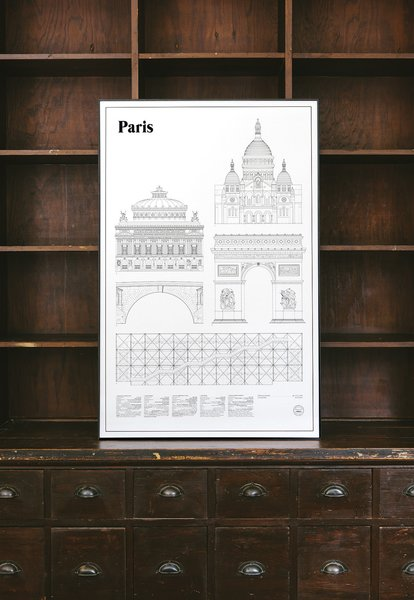 From Sweden's studio esinam, the Elevations Architectural Print Series is a thoughtful collection of portraits of famous international cities. In architectural drawings, elevations are flat representations of the façade of a building, showing a complete view of one building's side. The Paris Elevations Architectural Print includes architectural drawings of five buildings—Sacré-Cœur, Palais Garnier, Arc de Triomphe, Pont Marie, and Centre Georges Pompidou.