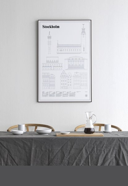 """The Stockholm Elevations Architectural Print includes architectural drawings of five buildings—the Kaknästornet, City Hall, City Library, Concert Hall, and the Stortorget. This large print is available in an unframed version, or a rich maple, modern black, or sleek white frame. A limited edition of 1,000 prints, each Stockholm Elevations Print is numbered. It can be used as a standalone print, or alongside other studio esinam prints to create a global, architectural art tribute.  Search """"gothenburg landmarks architectural print black frame"""" from Modern Wall Art for Architecture Lovers"""