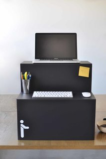 The Oristand opens like a cardboard box, meaning no tools or screws are needed for assembly. The two-pound collapsible work station measures one-inch-wide when folded, which makes it convenient for laptop workers who shuttle their business between the office and home.