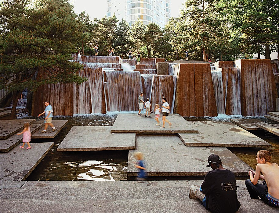 """The major space in the Portland Open Space Sequence, the Ira Keller Fountain, opened on June 23, 1970. """"Halprin knew how to engage the public, and his flexible, bottom-up approach often enabled him to get projects built,"""" said Laurie Olin, landscape architect.  Modern Spaces in the Pacific Northwest by William Lamb from Remembering the Forefather of Urban Renewal, Lawrence Halprin"""