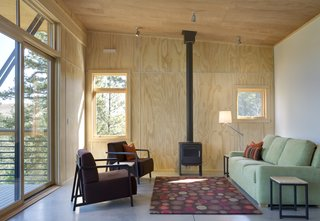 While the home is well insulated on all sides, the hearth can provide extra warmth when necessary.