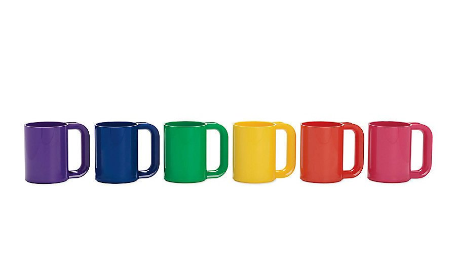 """Heller Rainbow Mugs from Design Within ReachOriginally popular in 1974, these technicolor coffee mugs, designed by Massimo Vignelli for Heller, are still made with the same molds so they can match their vintage predecessors. $60 for a set of six  Search """"jansen co my mug espresso saucer"""" from Design Idea of the Week: High-Gloss"""