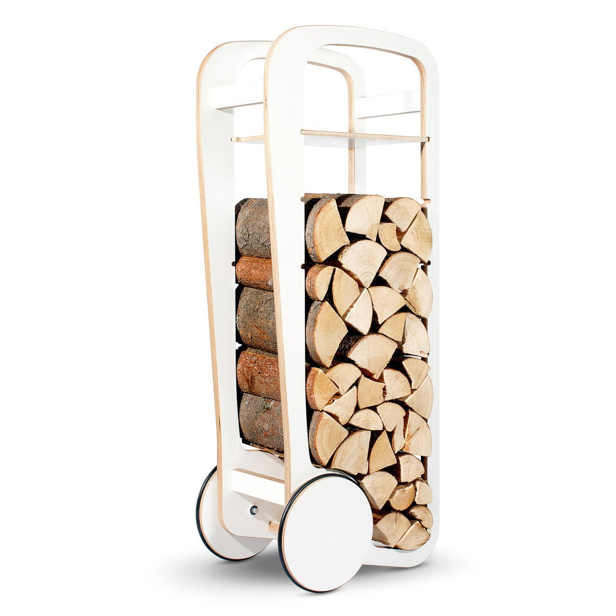 The Fleimio Wood Trolley, about $600 from connox.com, is made of laminated birch and features wheels to make transporting wood from outside easier.  Creative Ways to Store Firewood by Diana Budds