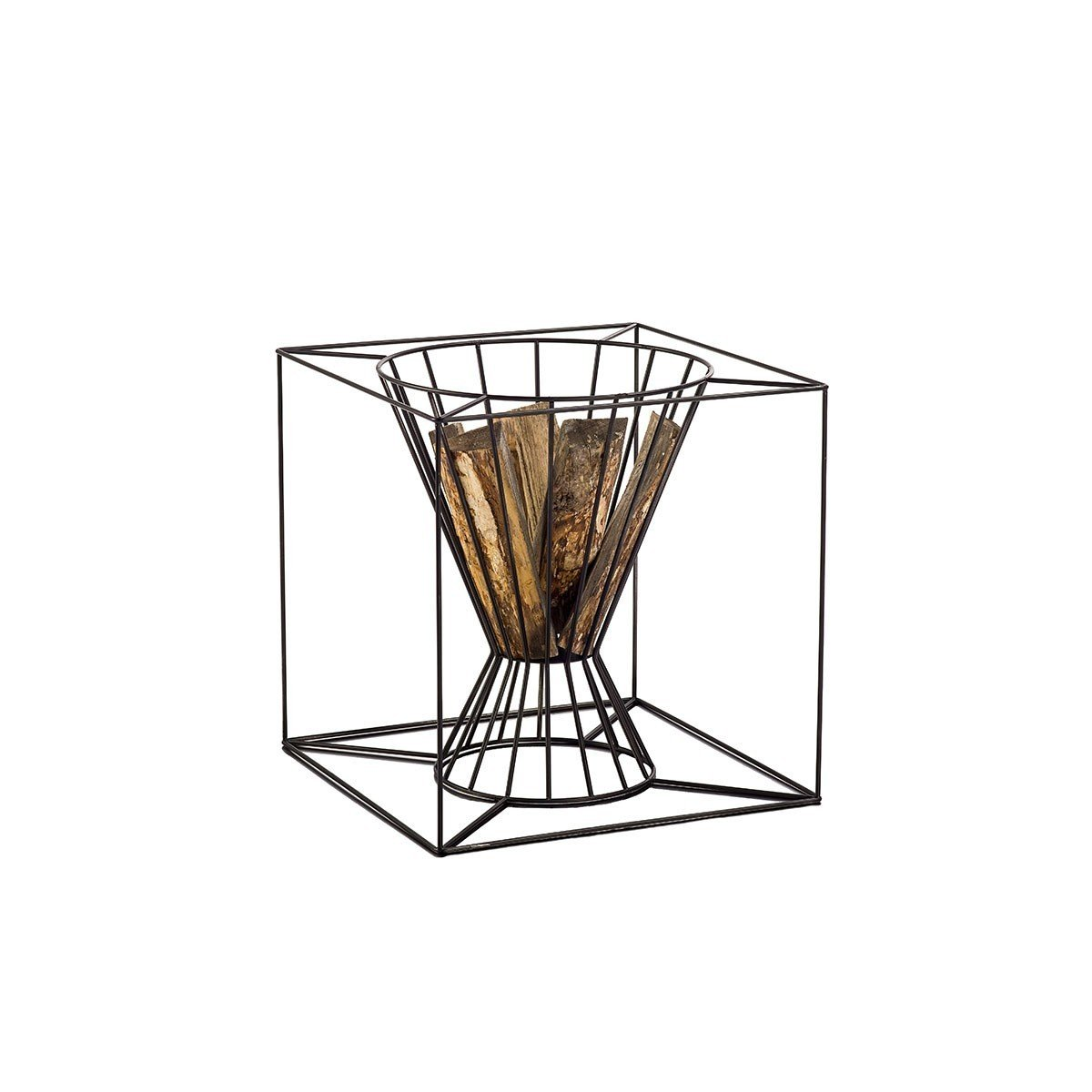 The Boo Fire Basket, $275 from store.dwell.com, can be sued as an outdoor fireplace, but it's also a handsome way to store wood indoors.  Creative Ways to Store Firewood by Diana Budds