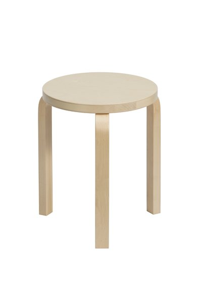 Alvar Aalto's Stool 60  In lieu of a coffee table, three of these stackable stools were grouped together. $308