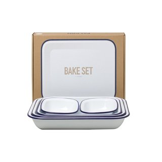 Falcon's iconic enamelware has been a staple brand for British home items since its opening nearly one hundred years ago, making it a timeless gift for newlyweds. This Bake Set includes three sizes of bake pans that can be used for cakes, crumbles, or even baking meats and vegetables. The set also includes two pie dishes to complete the set.