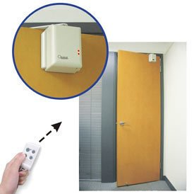 Automatic Door Opener  Don't you hate it when someone knocks on the door, and you know that it is just one of your roommates or family members who has forgotten their key? This problem is easily solved through the use of an automatic door opener. It is also handy if you happen to be carrying a lot of heavy things, and need to get through a closed door.  Photo via SafetyEd.